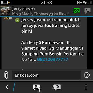 Konfirmasi pesanan jersey dan alamat lengkap Jerry S Kurniawan oleh enkosa sport toko online baju bola lokasi di jakarta