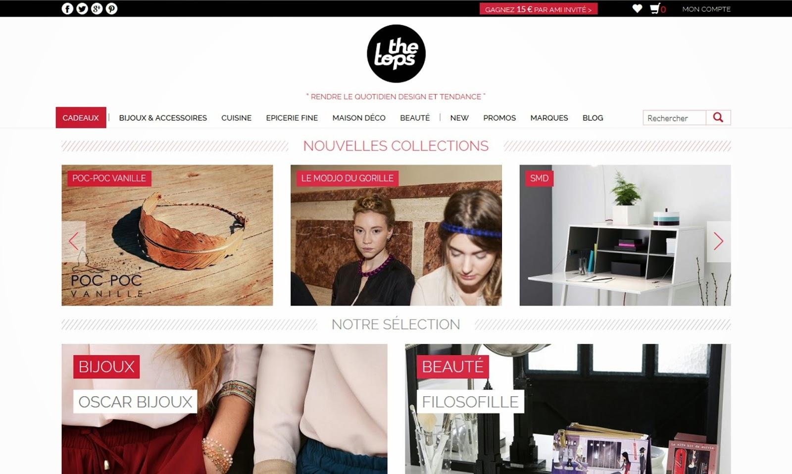 Site Web The Tops, concept store on-line bijoux accessoires epicerie fine maison déco beauté cuisine