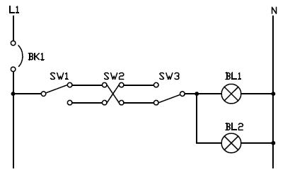 Control de lampara desde tres puntos con interruptor de tres y cuatro vías