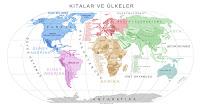 Dünya Kıtalar ve Ülkeler Haritası Siyasi