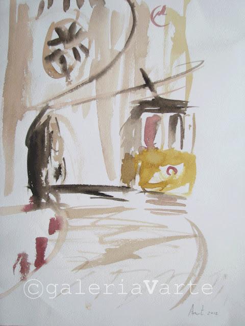Tram goes fast - original watercolor painting  by galeriaVarte