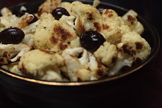 Cooking with Trader Joe's roasted cauliflower with olives