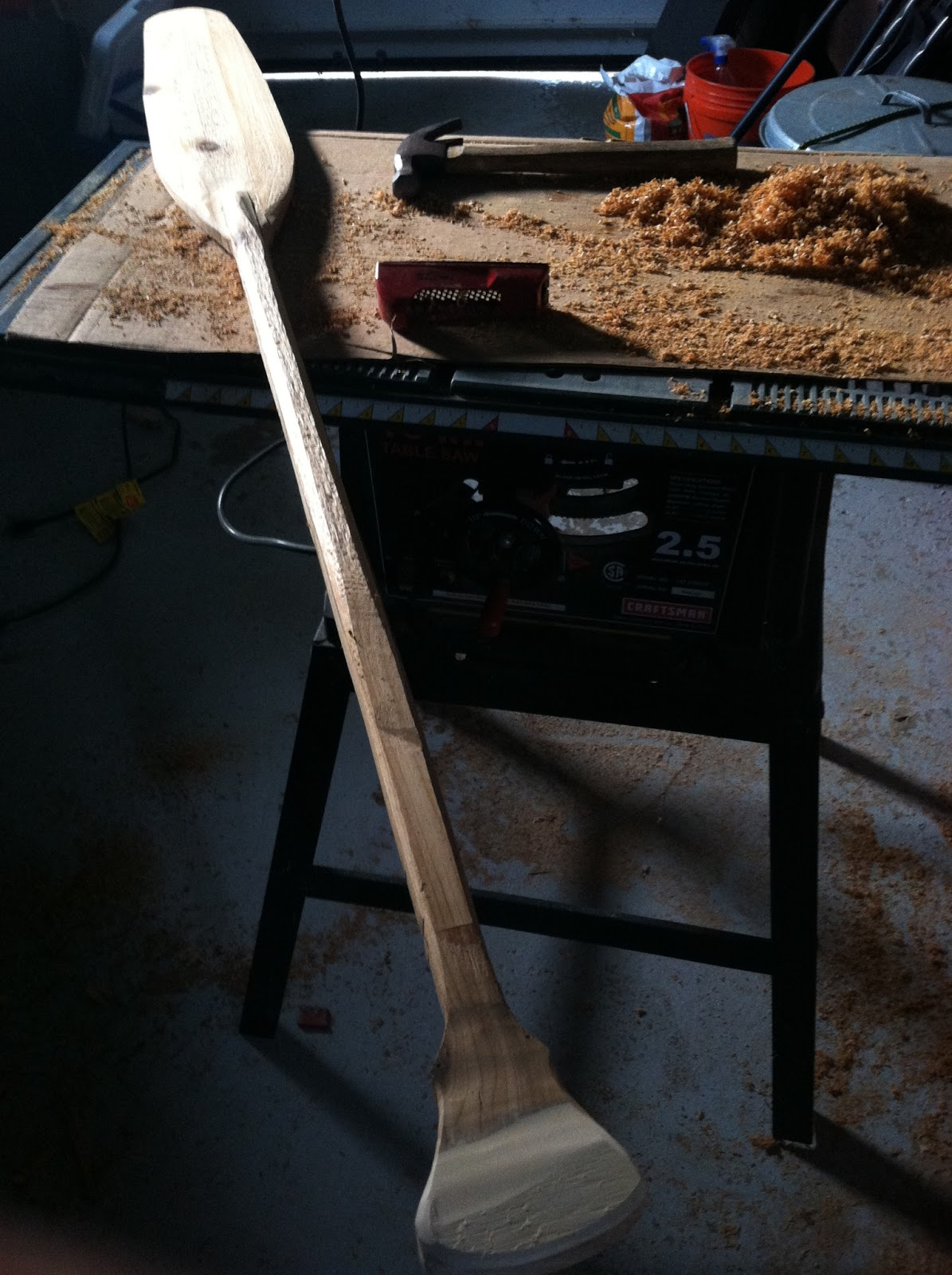 This is my first attempt at carving a paddle.  I thought traditional ottertail paddles would be a great way to get in the spirit of this journey.  This one is made from a single piece of red cedar, although I laminated the handle for additional strength.