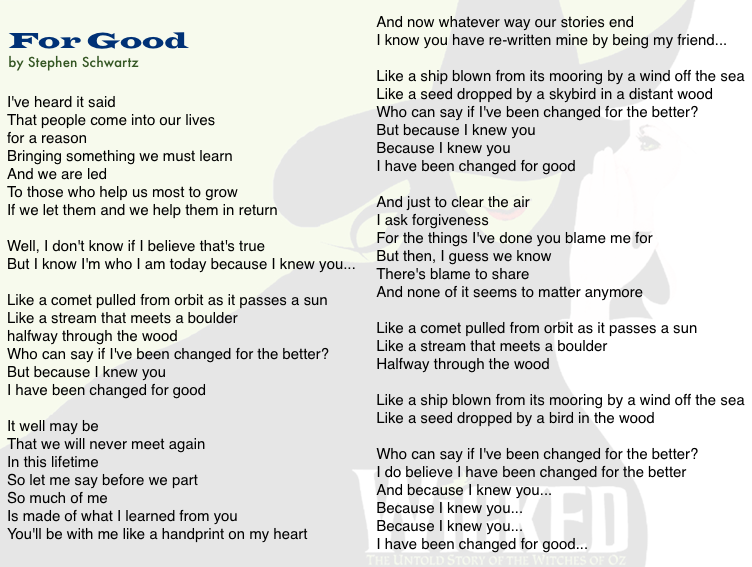 For Good Lyrics - Wicked musical - Broadway Musicals