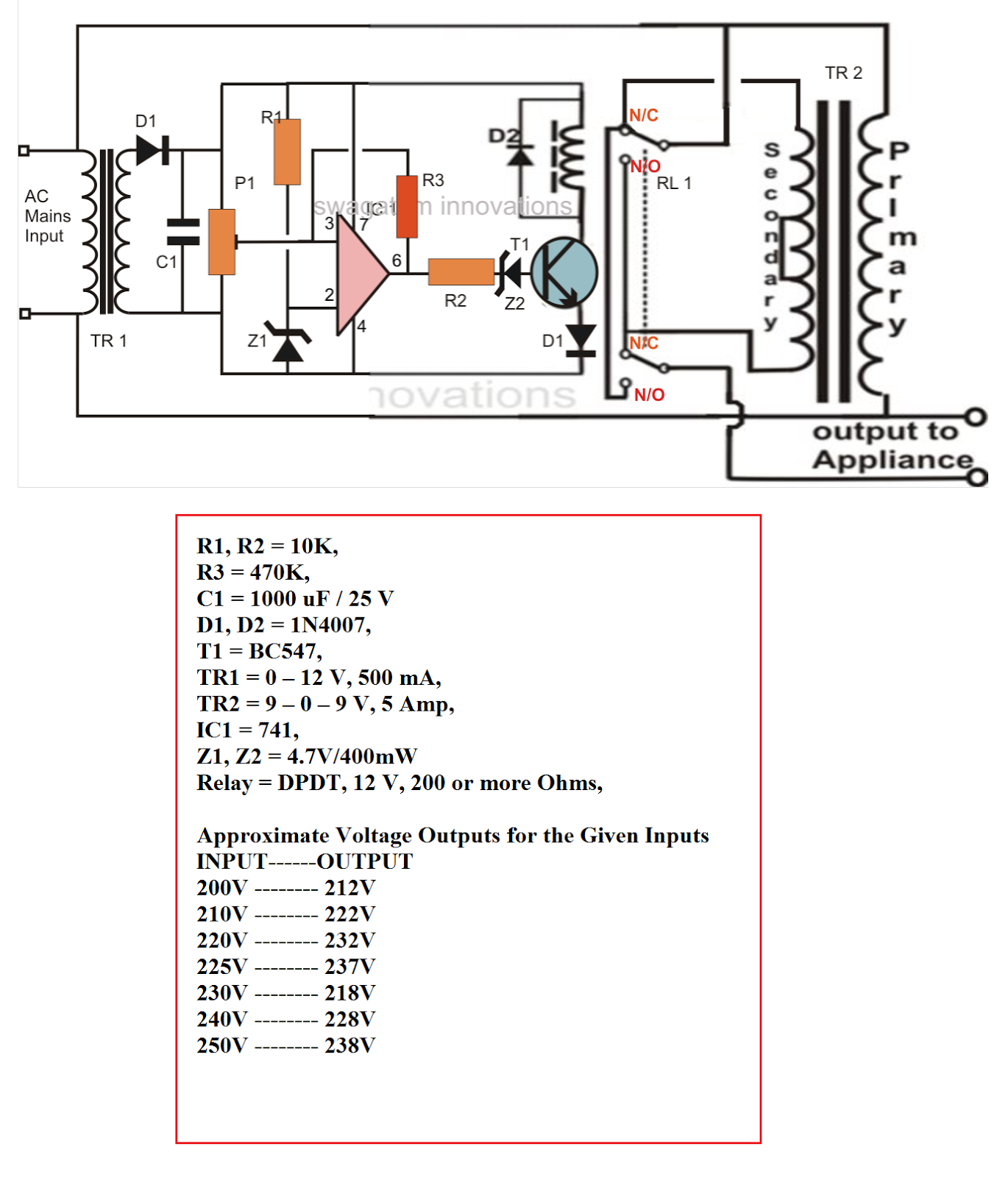 Electrical Engineering World How To Make A Small Homemade Automatic Circuit Diagram Voltage Stabilizer Click Here