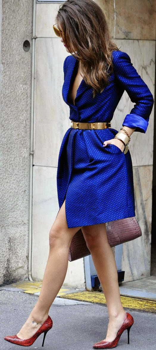 Blue Trench Coat Dress with Gold Belt and Chic Pumps | Street Styles