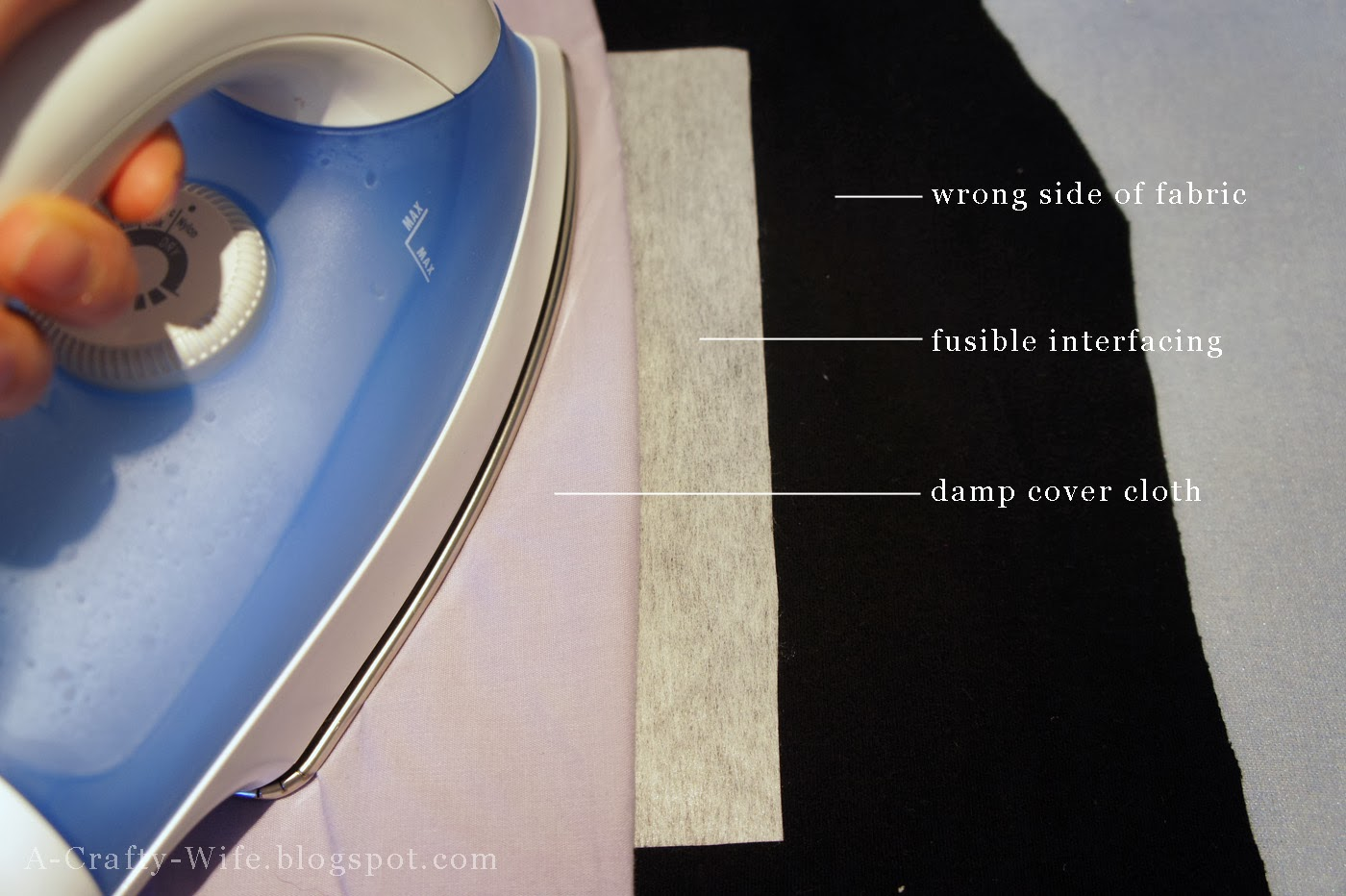 Iron fusible interfacing to wrong side of tshirt for strength | A Crafty Wife