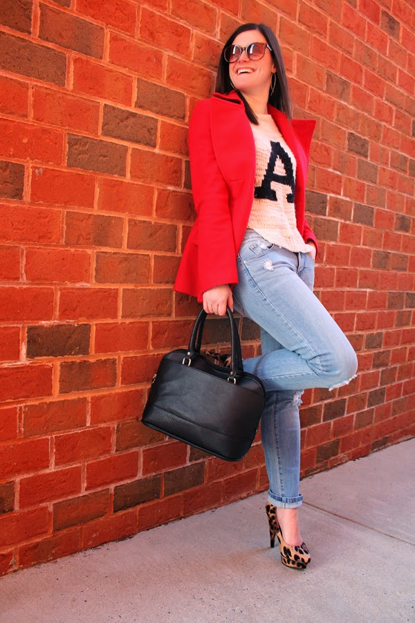 red coat, sweater, boyfriend jeans, leopard heels, Alex & Ani bracelet, Target, Target bag
