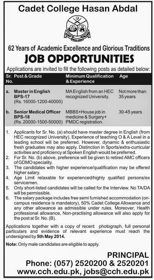 Senior Medical Officer and Lecturer Jobs in Cadet College, Hasan Abdal