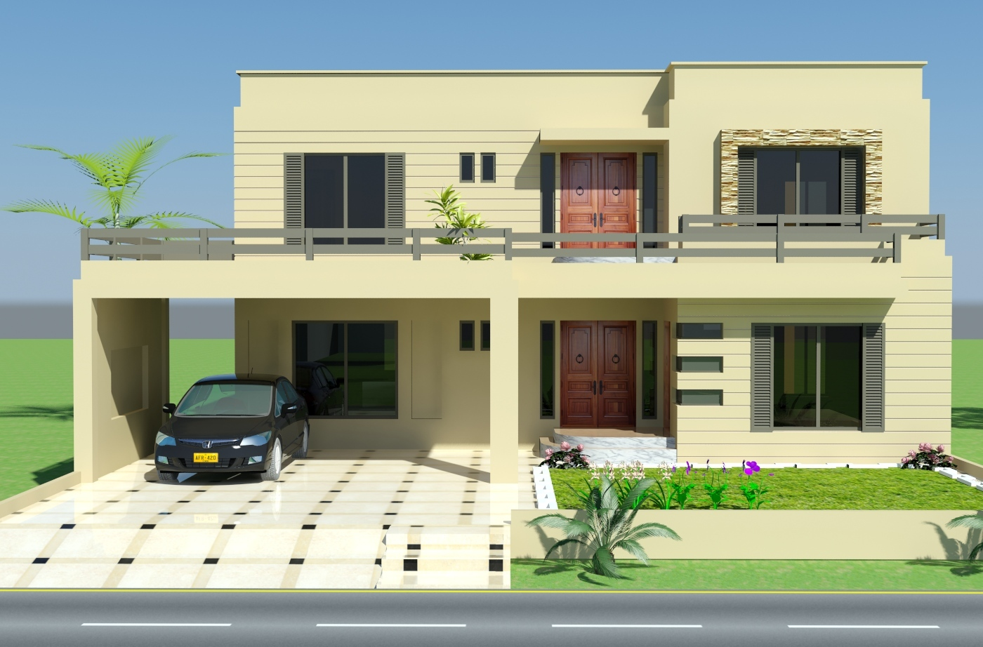 Design House,2 Kanal 3D front elevation of House IP Town, Lahore