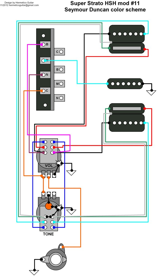Hermetico Guitar: Wiring Diagram: Super Strato HSH mod 11 on push pull diagram, single pickup telecaster wiring, single coil guitar pick up diagram, single coil speaker, single pickup guitar wiring, single coil dimensions, single coil relay, single coil tone and volume, single fire ignition for harley, single pull switch wire diagram, at&t home network diagram, single ground diagram radio, single phase condenser motor wiring, single fire ignition system diagram, single coil generator, single coil pack diagram, single coil ignition system, coil tap diagram, single pick up coil construction, single coil capacitor,