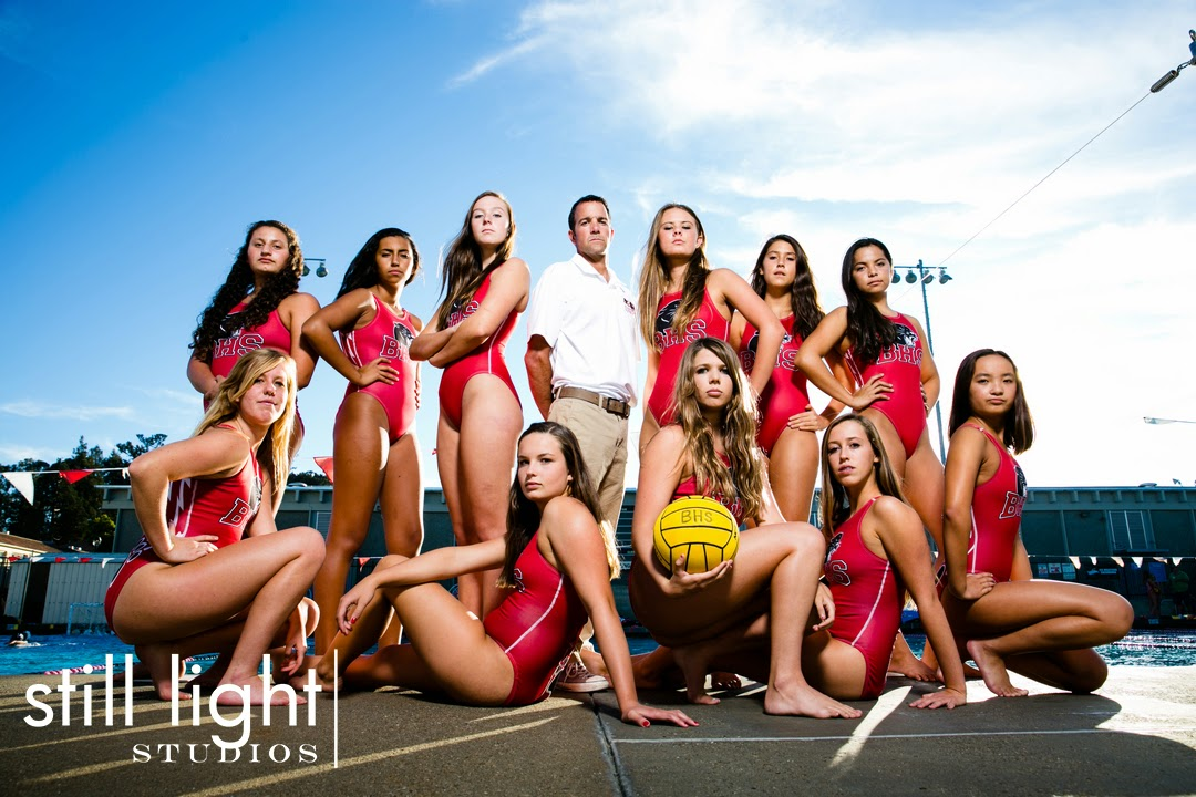 Burlingame High School Water Polo Girls Team Photo by Still Light Studios, School Sports Photography and Senior Portrait in Bay Area, cinematic, nature