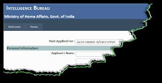 IB ACIO Recruitment 2012 Online Form