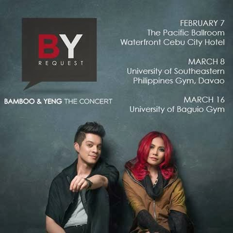 Bamboo and Yeng Constantino,Concert,Schedule,Bamboo,Yeng Constantino,BY Request,February 7 2014,March 8 2014,March 16 2014,Cebu concert ,Baguio concert,Cebu,Davao,Baguio,
