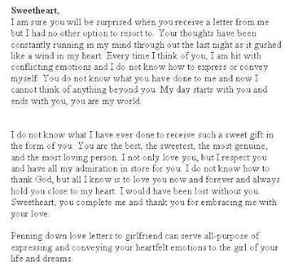 Valentine S Day Love Letter To Girlfriend Sample Letters