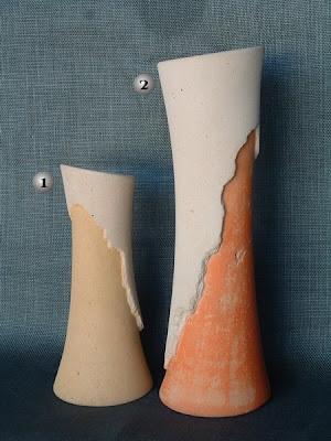Jarrones realizados con simil piedra de forma artesanal
