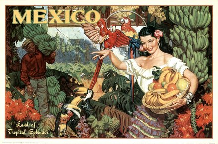 free printable, printable, vintage, vintage posters, graphic design, free download, retro prints, classic posters, travel, travel posters, Mexico, Land of Tropical Spendor - Vintage Travel Poster