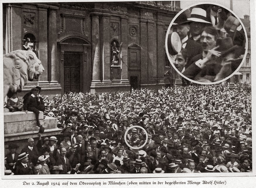 vintage everyday: A young Hitler cheers the start of World War One ...