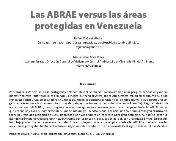 Areas Protegidas y ABRAE