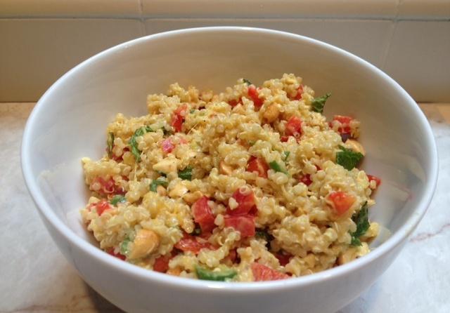 quinoa salad with mango, mint and curried yogurt