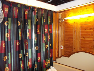 Lovely bright curtain inside a hotel in India hill station, Interior design