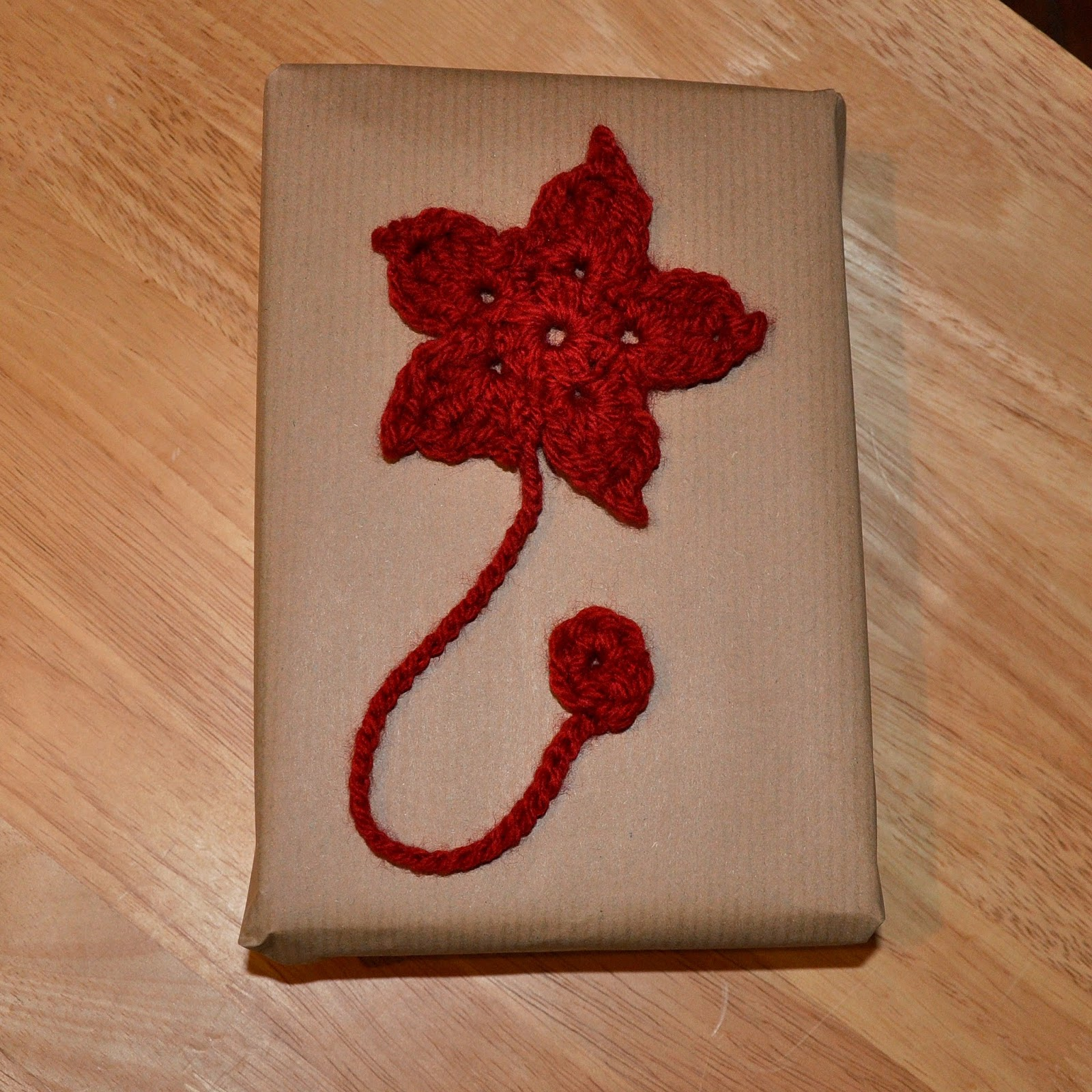 crochet poinsettia bookmark