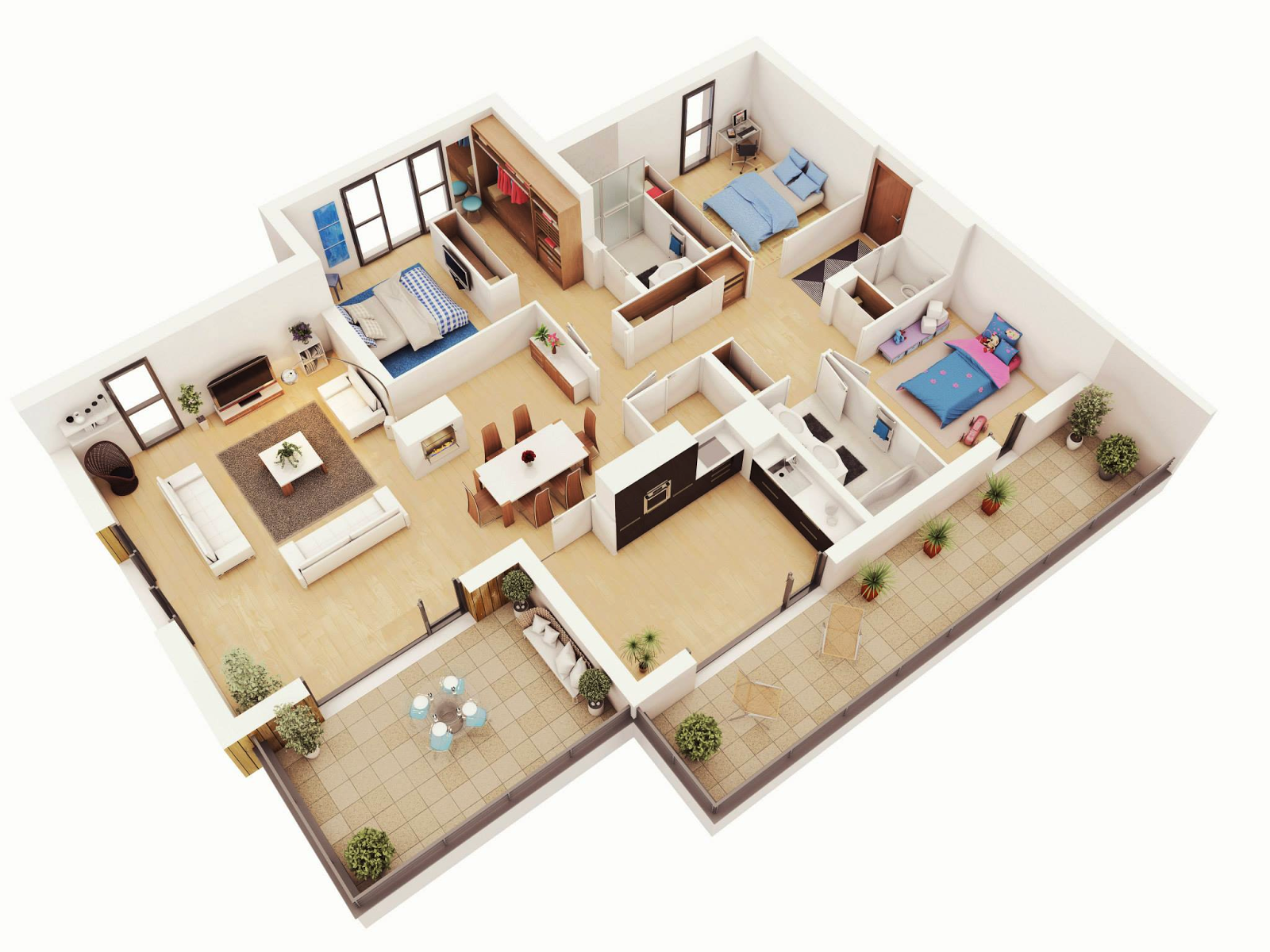 Free 3 bedrooms house design and lay out for Simple two bedroom apartment design