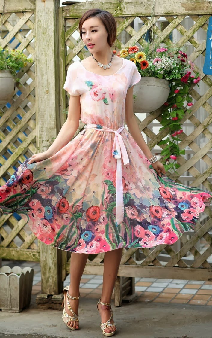 Floral Digital Painting Chiffon Dress