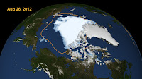 2012 Arctic sea ice summertime minimum - The 2015 Arctic sea ice summertime minimum was 699,000 square miles below the 1981-2010 average. (Credit: NASA's Goddard Scientific Visualization Studio) Click to Enlarge.