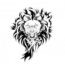 Motif Tato Singa Hitam Putih 25