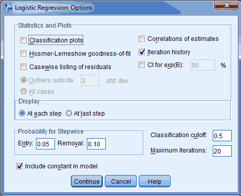 option logistic regression