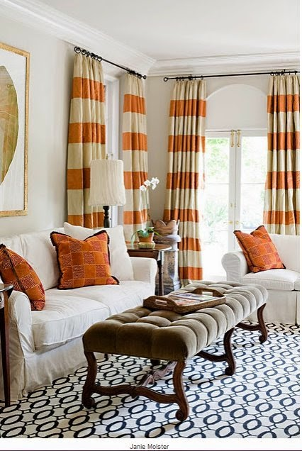 elegant orange livingroom curtain designs