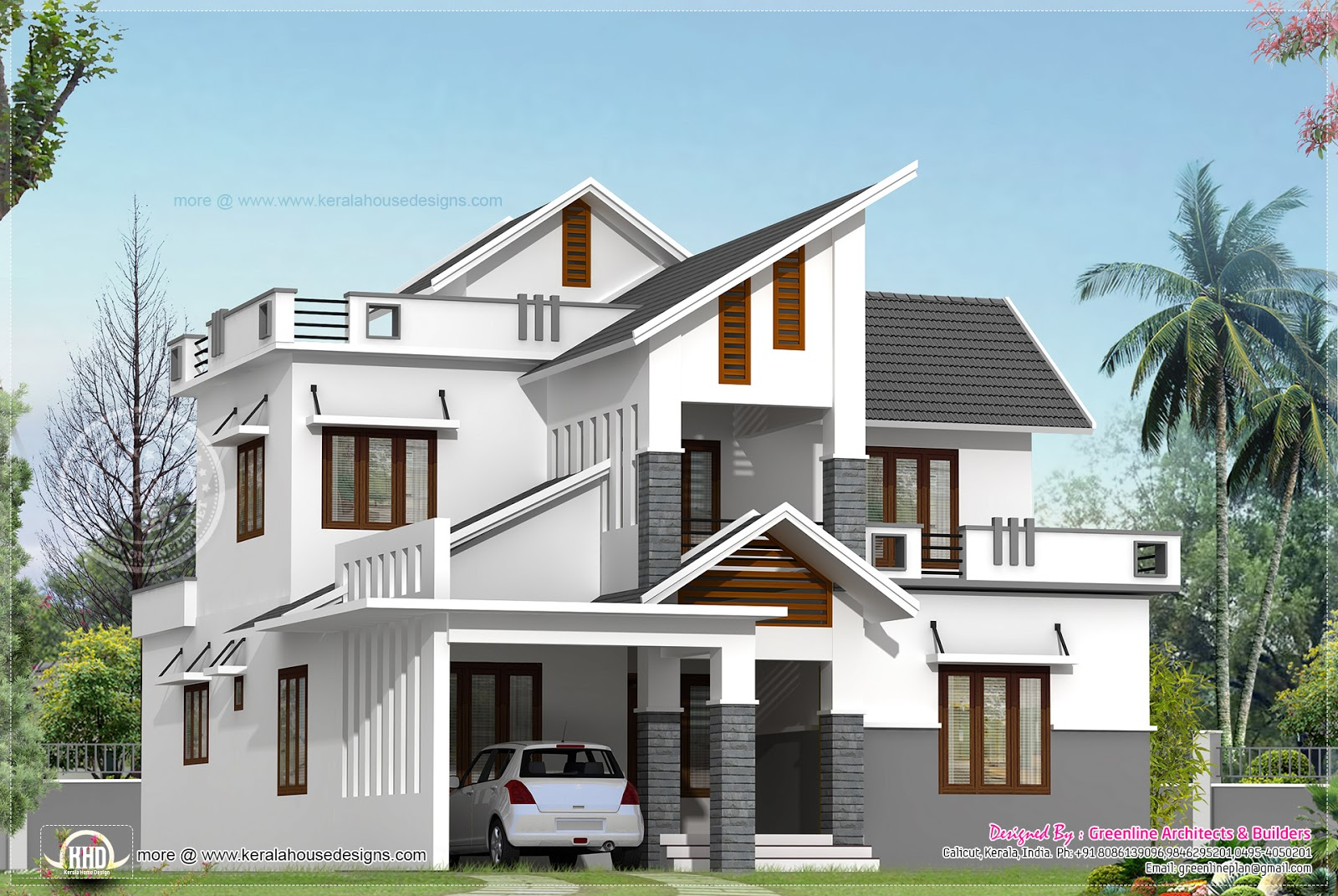 Modern house elevation in 2240 kerala home dezign for Kerala building elevation