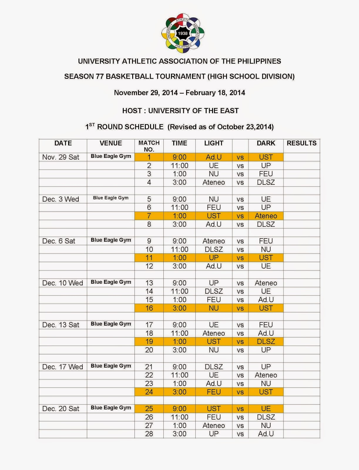 uaap season 22 basketball tournament high school division first round of schedule