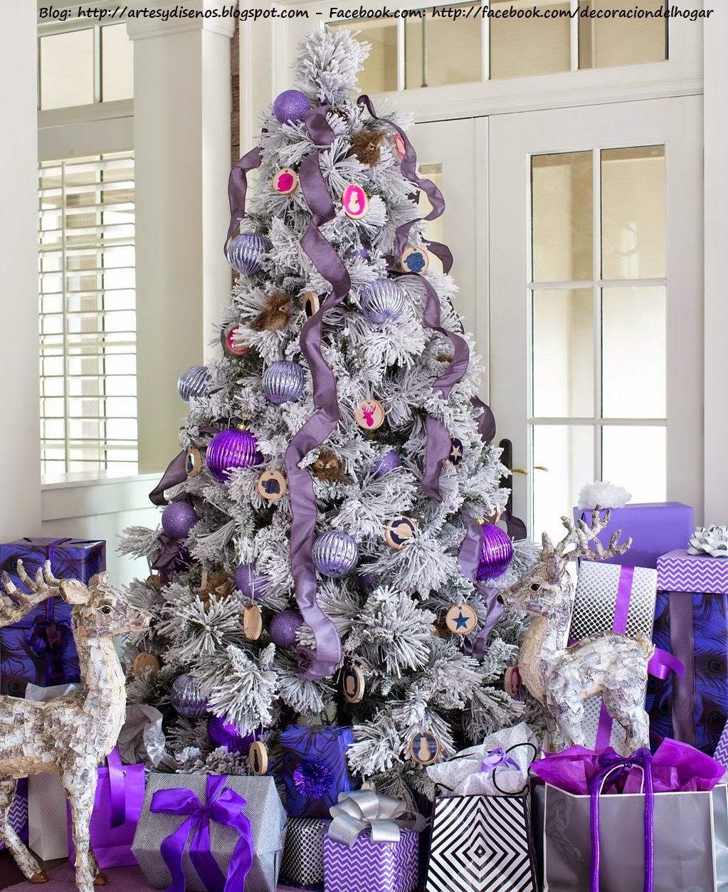 Decoracion arbol de navidad blanco y morado - Decoracion de navidad en casa ...