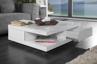 luxusny biely stolik do obyvacky, dizajnovy konferencny stolik