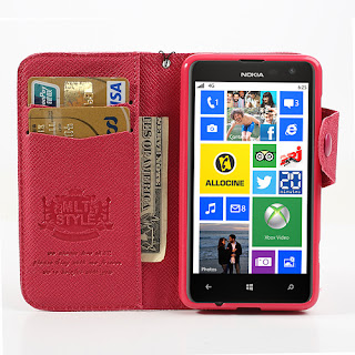 Leather Case Wallet With Card Slot for Nokia Lumia 625 - Magenta