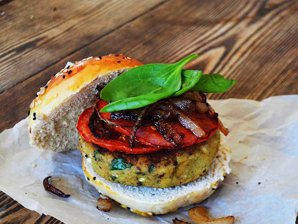 Spinach Feta Veggie Burgers w/ Crispy Fried Onions and Roasted Tomatoes