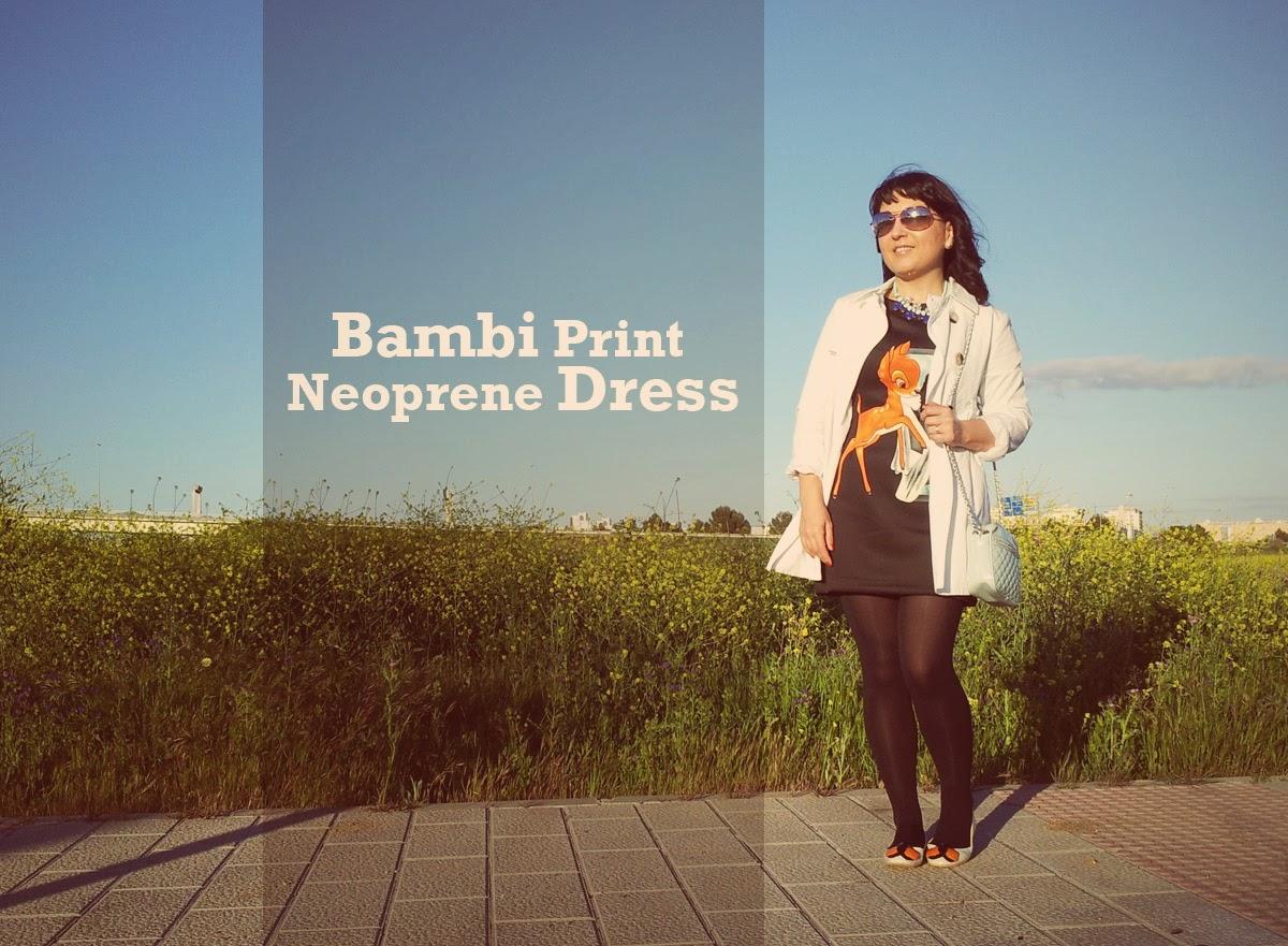 bambi+print+neoprene+dress