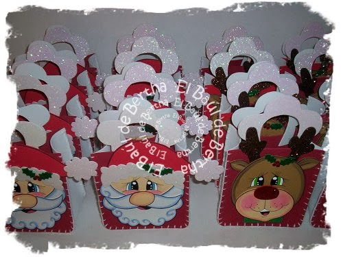 Dulcero Navidad con Carita de Santa y Reno en Foamy Dulceros%2Bnavide%C3%B1os%2Bsanta%2By%2Breno