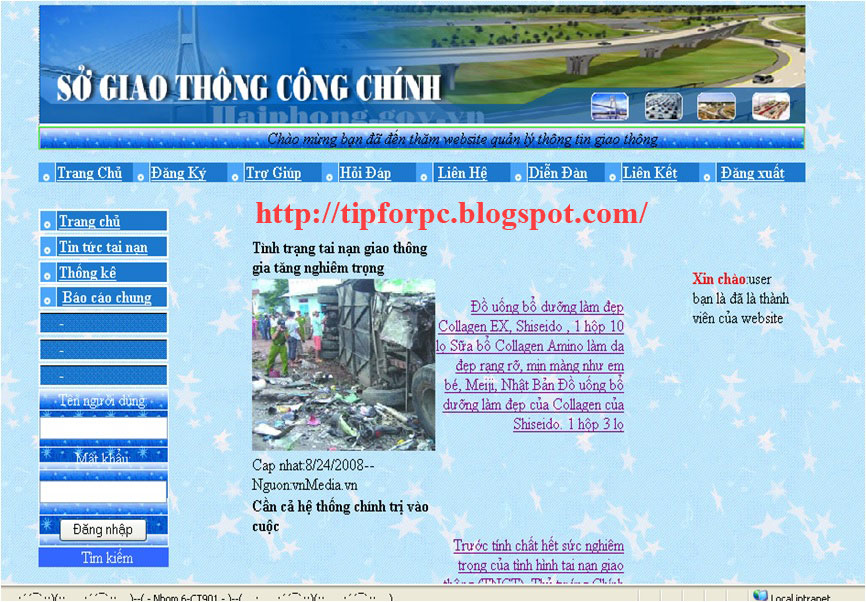 Source code Web quản lý tai nạn giao thông Asp.Net + báo cáo