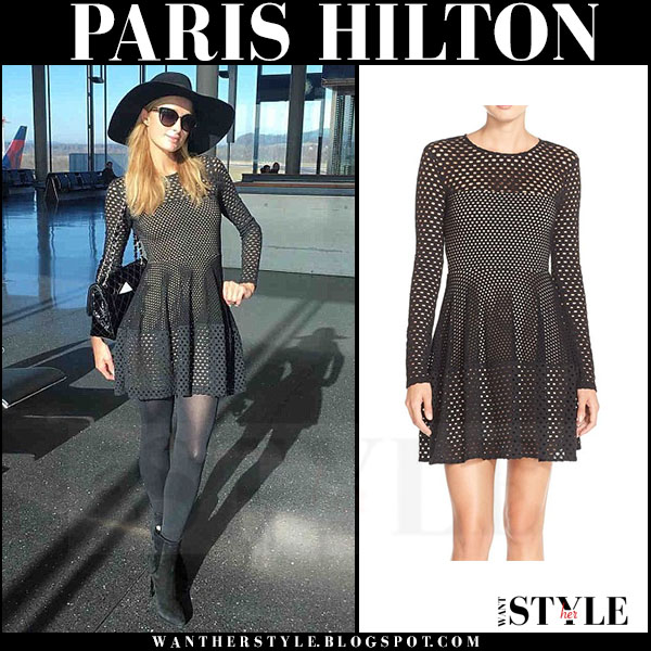 Paris Hilton in black eyelet long sleeve bcbg kyla mini dress and black hat maison michel fara what she wore