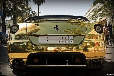 This Gold Plated Ferrari 599 GTB Fiorano Belongs To A Wealthy And  High Profile Individual From Dubai And Was Recently Spotted In London.