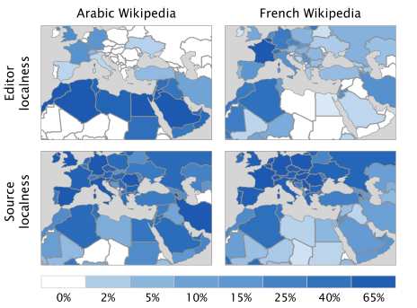 Distribución de artículos en árabe y francés en Wikipedia