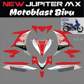 Sticker striping motor Yamaha New Jupiter MX 135 Motoblast Merah