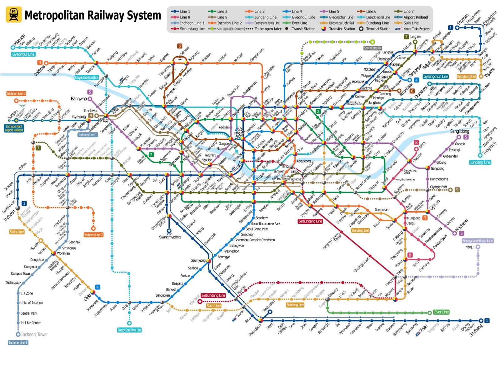 Схема метро на корейском языке