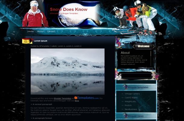 Free Blogger Ski Blue Black Sports Theme Template