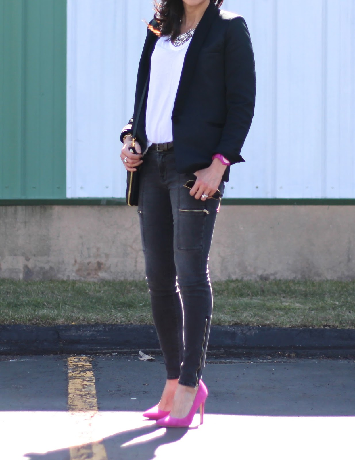 outfit- Sandro jacket, Alexander Wang t-shirt, J Brand photo-ready jeans, Ivanka Trump heels