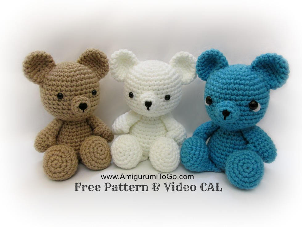 Crochet Pattern Amigurumi Bear : Crochet Teddy Bear Written Pattern and Video ~ Amigurumi To Go
