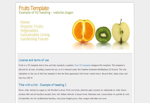 Free CSS Fresh Fruits Website Template
